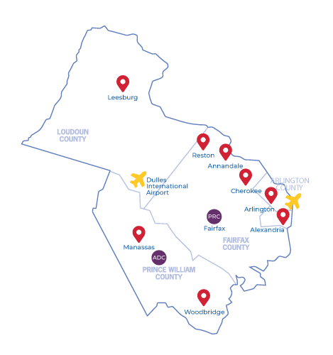 Map of airports in the area